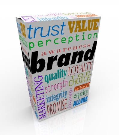 The word Brand on a box or package with several related terms such as quality, loyalty, trust, and identity to signify unique differentiators for a product or service in its market photo