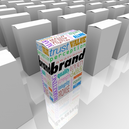 credibility: Many boxes on a store shelf, one with the word Brand to differentiate it as being the best choice, most reputable or credible, and top in popularity and loyalty Stock Photo