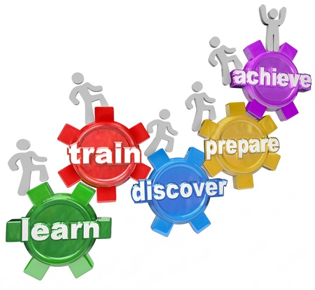 advancement: Several people or students climb up a series of gears to accomplish a goal or mission