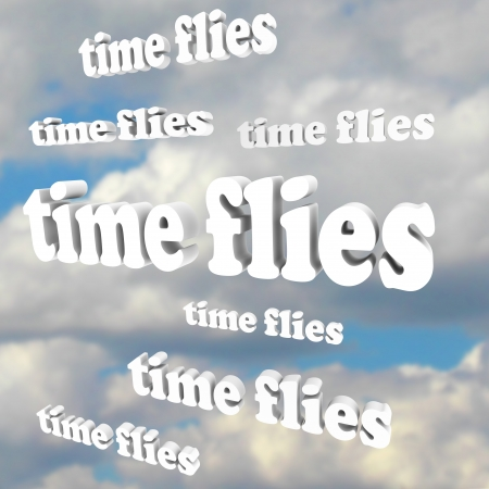 time flies: The words Time Flies in a blue cloudy sky, illustrating the passing of precious moments