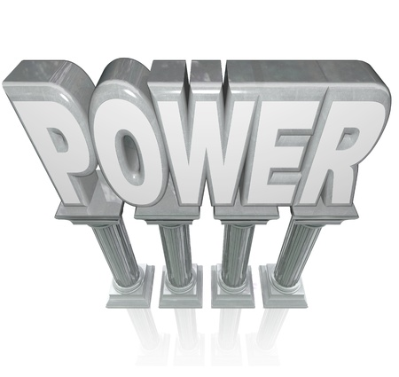 The word Power on marble columns symbolizing powerful strength Stock Photo - 15252751