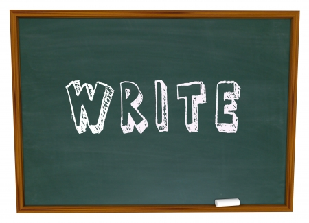 The word Write written in chalk on a school chalkboard Stock Photo - 15513403