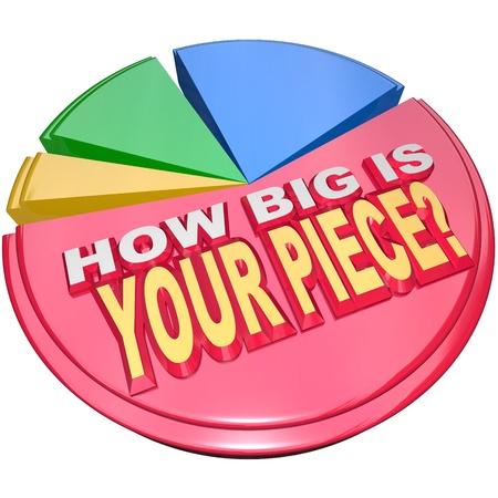 장점: 큰 시장의 당신의 몫을 설명하기 위해 다채로운 원형 차트에 조각 얼마나 단어 스톡 사진