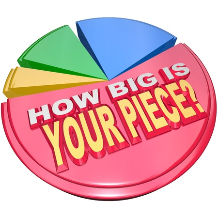 The words How Big is Your Piece on a colorful pie chart to illustrate your share of the market photo
