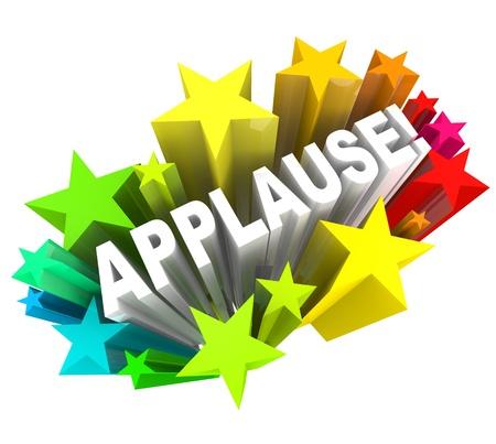 manos aplaudiendo: Los aplausos palabra rodeada de estrellas de colores para simbolizar el apoyo, el entusiasmo, la aprobación, ovación, u otra reacción positiva o realimentación