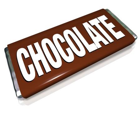 Una barra de chocolate en marr�n y plata papel de envoltura, caramelo chatarra comida que no es saludable para que usted pueda comer Foto de archivo - 15330918