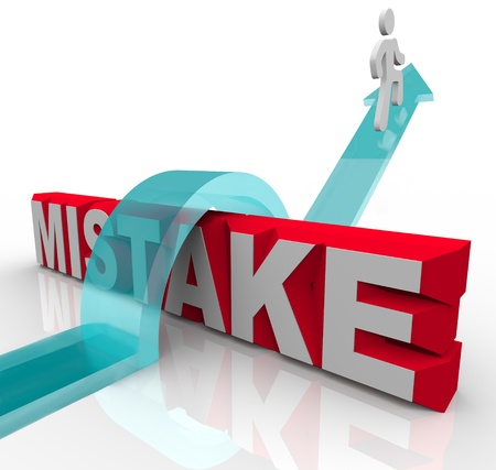 A person climbing over the word Mistake to reach new heights and attain success despite past errors