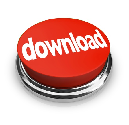 download: Download red button order and downloading the software or other online merchandise you want to buy or put onto your computer Stock Photo