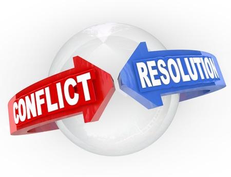 conflicto: Una esfera con flechas azules y rojas de los extremos opuestos y las palabras