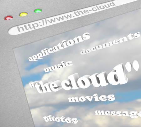 The words The Cloud on a computer screen representing remote online storage of your files, music, movies and more as well as web based applications and programs photo