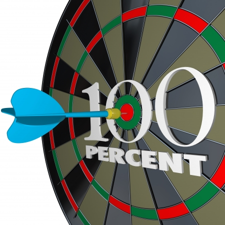 dartboard: The number and word 100 Percent on a dartboard and a dart hitting the center bulls-eye target to symbolize full or total success