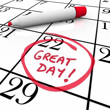 circled: Un gran d�a con un c�rculo en un calendario con un marcador rojo para simbolizar una fecha importante en el mes Foto de archivo