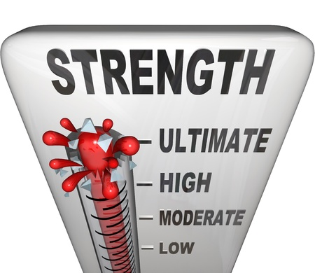ultimate: A thermometer measuring your strength level with mercury rising past low, moderate and high to the word Ultimate Stock Photo
