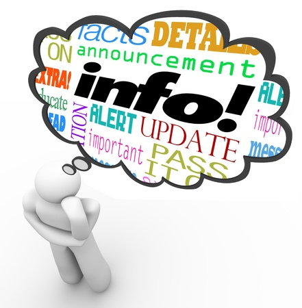 上記の思考者は、情報、ニュース、更新、メッセージ、警告、事実および詳細を記述する言葉で思考雲 写真素材