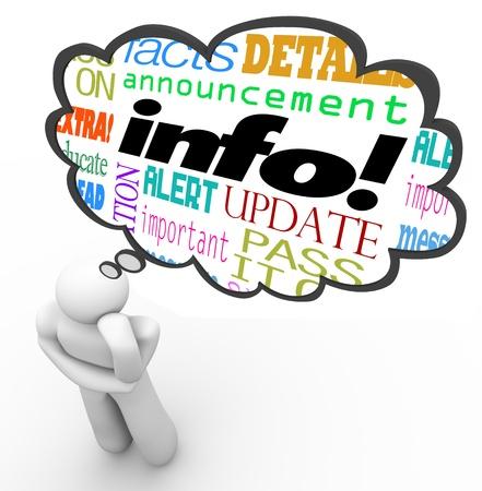 정보, 뉴스, 업데이트, 메시지, 경고, 사실과 세부 사항을 설명하는 단어와 함께 생각하는 사람, 위의 생각 구름