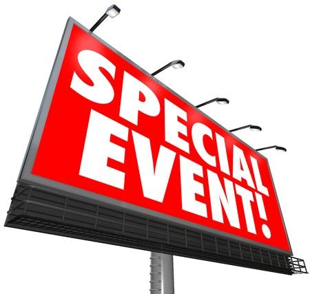 signos vitales: Un enorme cartel rojo con las palabras de Eventos Especiales para anunciar una venta exclusiva por tiempo limitado, reuni�n, Converence, convenci�n, exposici�n, exposici�n, exhibici�n u otra actividad