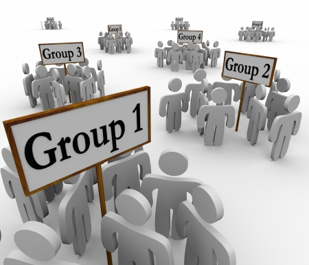 別の派閥の人々 のいくつかのグループの兆候の周りに集まったまたはバナー マーク部門、チームワーク、segregtaion と会衆を表すグループ 1、2 等