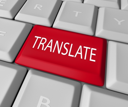 interpreter: The word Translate on a red computer keyboard key or button to illustrate translation from one language into another through deciphering meaning, transcription or interpretation
