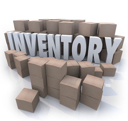 inventories: A surplus or oversupply of products in cardboard boxes in a stockroom or warehouse with the word Inventory in the mess of box piles and stacks Stock Photo