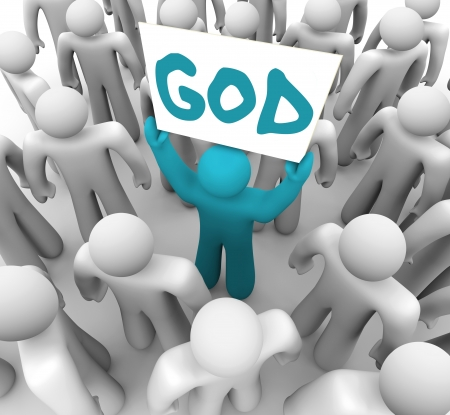 word of god: A blue person stands out in a crowd holding a sign with the word God on it, spreading the holy teachings of the church and trying to convert others to a belief or faith Stock Photo