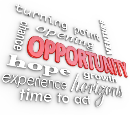 growth opportunity: A background of 3d words related to opportunity such as turning point, opening, venture, chance, hope, growth, horizons, experience and time to act Stock Photo