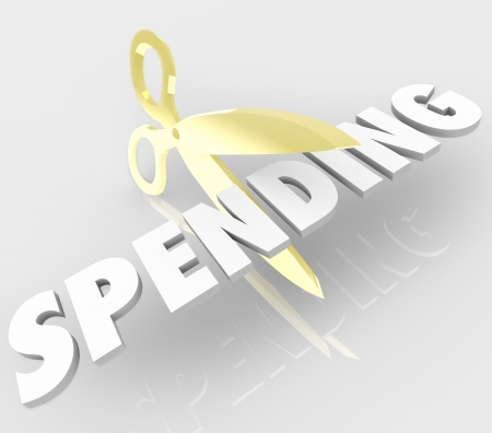 low cost: A pair of gold scissors cutting the word Spending to symbolize how to reduce your costs and prices to save money and improve your financial situation with an effective budget