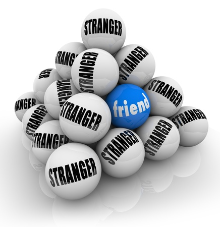 Making friends is challenging as symbolized by this pyramid of balls marked Stranger with one hidden sphere with the word Friend hidden for you to find and make a new friendship Stock Photo - 15638012
