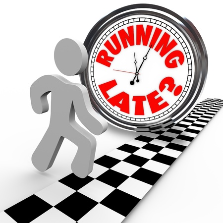 running late: Running Late words on clock runner behind time as crosses finish line and loses the race due to slow speed