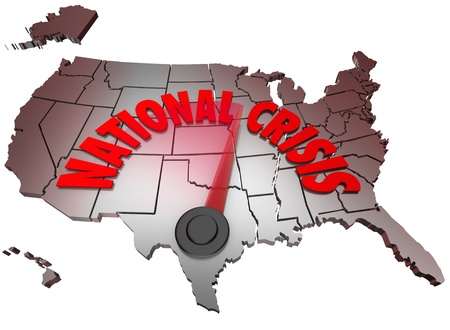 turmoil: The words National Crisis on a map of the United States of America symbolizing that the USA is facing a crisis in the economy, unemployment at war or facing some other major problem