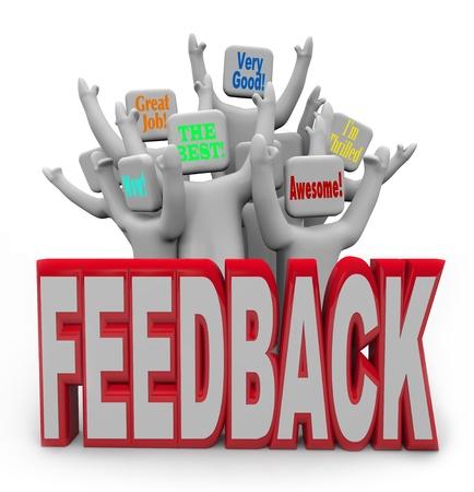 Una audiencia de clientes animando proporcionar información tal como trabajo estupendo, impresionante y muy bueno para expresar su placer y la satisfacción con el rendimiento de su producto o