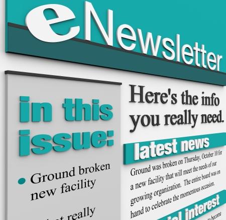 이메일 뉴스 레터는 중요한 공지 사항 및 제품 상세 정보를 알려 할 뉴스, 기사, 및 특별한 관심 기능을 제공받은 편지함으로 전송 스톡 콘텐츠
