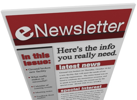updated: An enewsletter emailed to you to deliver news and information to keep you updated on important matters and product announcements Stock Photo