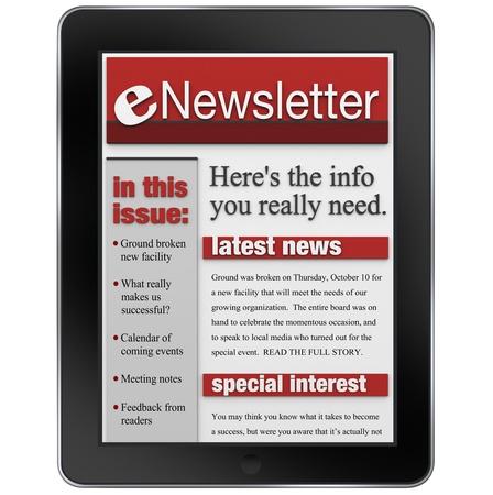 newletter: Una notizia enwsletter avviso di aggiornamento inviato a un computer tablet per tenervi informati con articoli importanti e aggiornamenti dei prodotti Archivio Fotografico