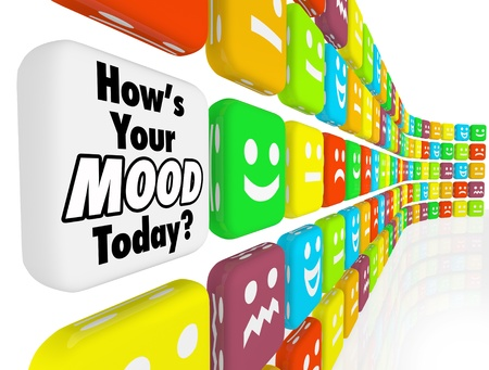 state of mood: Choose your answer to the question Hows Your Mood Today with many different faces showing smiles, frowns, excitement or fear