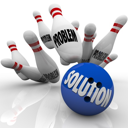 problem: The word Solution on a blue bowling ball hitting pins with the word Problem on them to represent an answer to solve some trouble, issue or challenge and reach a goal