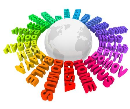 translate: The Home palabra en muchos idiomas y colores diferentes de todo el mundo que representan a las diversas culturas diversas, las sociedades, los h�bitats y las comunidades de la Tierra Foto de archivo