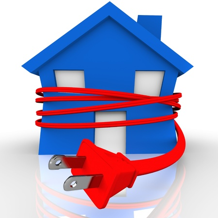 A blue house or home is strangled or squeezed by a red electrical cord to symbolize reliance on electricity and the stranglehold the power source has on our lives Stock Photo - 15806788