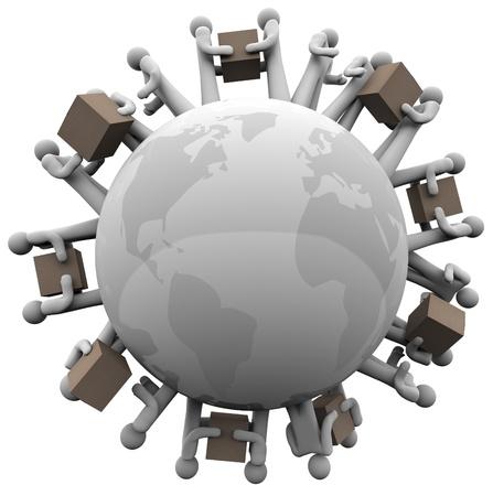 Beaucoup de gens transportant des boîtes de carton et de l'expédition dans le monde entier pour symboliser les expéditions internationales et affaires mondiales Banque d'images - 15806785