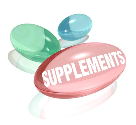 and vitamin: Three colorful dietary supplements to represent vitamins or other over the counter natural medicines you can take to benefit your health and achieve total wellness in your life
