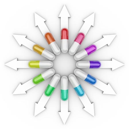 addictive: Many different color prescription pills, medications and capsules on arrows pointing in different directions to illustrate various medical treatments for your illness or disease