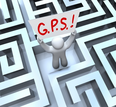 global positioning system: The word or acronym for G.P.S. - Global Positioning System on a sign held up by a person lost in a maze or labyrinth Stock Photo