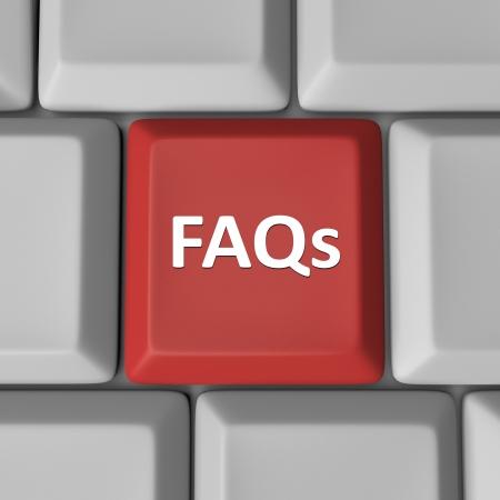 chiesto: Le FAQ Abbreviazione Significato domande frequenti su un tasto del computer rosso per aiutare a trovare le risposte alle tue domande e problemi Archivio Fotografico