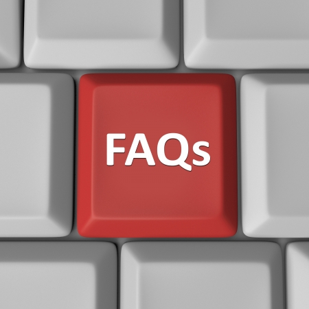 The abbreviation FAQs meaning frequently asked questions on a red computer key to help find answers to your inquiries and problems photo