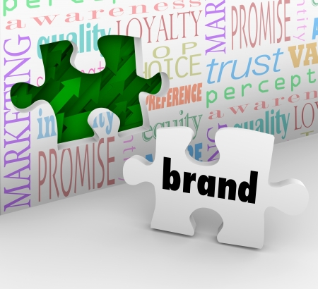 brand identity: A puzzle piece with the word Brand is your final answer completing your marketing strategy to build awareness and customer loyalty