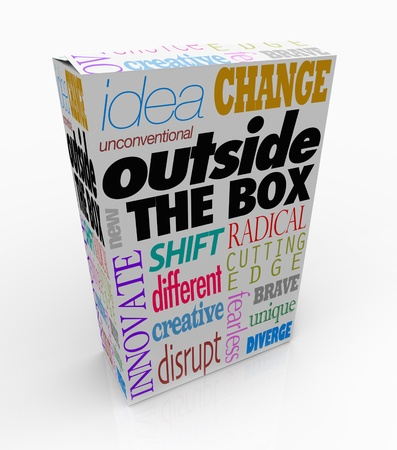 disruptive: The words Outside the Box on a product package to symbolize a new idea, innovative creation or an unconventional, unique solution to a problem