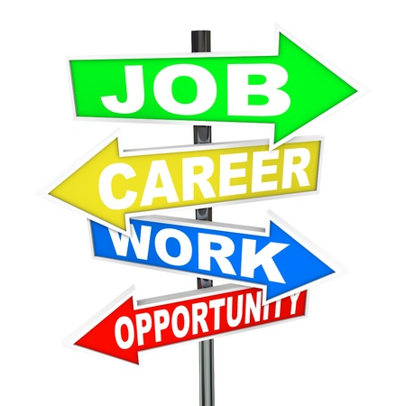 opportunity sign: The words Job, Career, Work and Opportunity on colorful road signs with arrows pointing to new opportunities to advance your profession or working life to achieve success Stock Photo