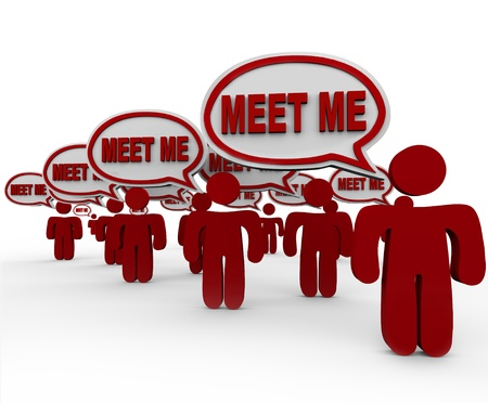 inform: Many people talking with the words Meet Me in speech bubbles to symbolize interviewing, networking, introducing and meeting new neighbors, contacts, candidates or friends