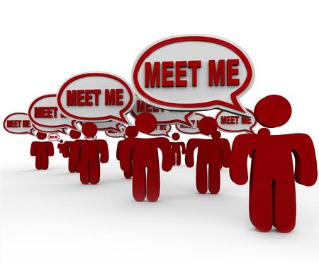 mucha gente: Muchas personas hablan con las palabras Meet Me in bocadillos para simbolizar la entrevista, la creaci�n de redes, la introducci�n y el cumplimiento de los nuevos vecinos, contactos, candidatos o amigos