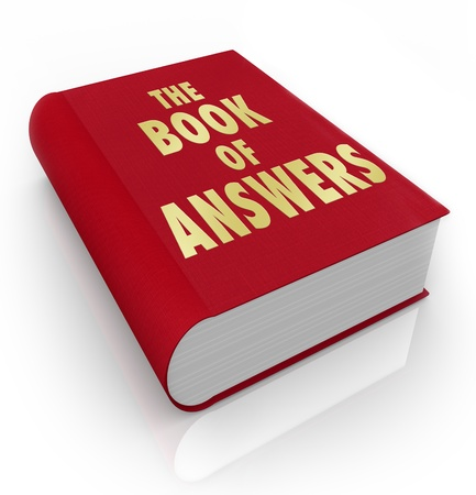 needs: A red book with the words Book of Answers, a manual that gives you advice and shares wisdom to help you succeed in life