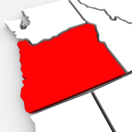 A red abstract state map of Oregon, a 3D render symbolizing targeting the state to find its outlines and borders photo